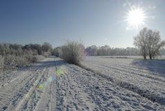 Χειμερινό τοπίο με το hoarfrost Στοκ Εικόνες