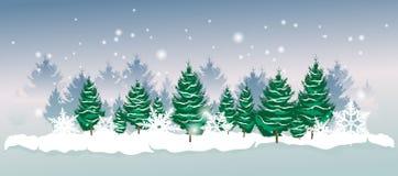 Χειμερινό τοπίο με fir-trees και snowflakes στο υπόβαθρο ελεύθερη απεικόνιση δικαιώματος