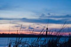 Χειμερινό τοπίο σούρουπου, παγωμένη λίμνη, bulrush, μπλε και ρόδινος ουρανός, βαθιά μπλε σύννεφα, χειμώνας, φωτογραφία υποβάθρου  Στοκ Εικόνες