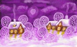 Χειμερινό τοπίο στα ιώδη χρώματα, ζωγραφική Στοκ εικόνες με δικαίωμα ελεύθερης χρήσης