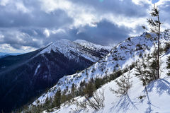 Χειμερινό τοπίο των βουνών Στοκ Φωτογραφία