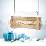 Χειμερινό τοπίο Χριστουγέννων με το ξύλινο σημάδι ελεύθερη απεικόνιση δικαιώματος
