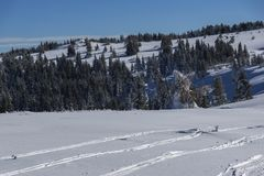 Χειμερινό τοπίο Vitosha του βουνού, περιοχή πόλεων της Sofia, της Βουλγαρίας στοκ φωτογραφία