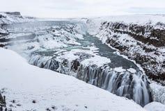 Χειμερινό τρίγωνο Gullfoss Στοκ Εικόνες
