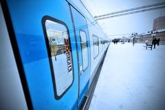 Χειμερινό τραίνο Στοκ Φωτογραφία