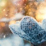 Χειμερινό υπόβαθρο - η γυναίκα παραδίδει τα γάντια με πετώντας Snowflakes Στοκ Εικόνες