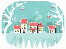 Χειμερινό υπόβαθρο με ένα ειρηνικό χωριό στο χιόνι, τα δέντρα και τη σορβιά Στοκ Εικόνες