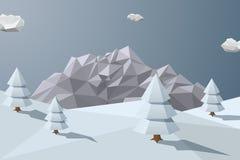 Χειμερινό υπόβαθρο με τα βουνά στο χαμηλό polygonal ύφος ελεύθερη απεικόνιση δικαιώματος