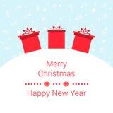 Χειμερινό υπόβαθρο με τα στοιχεία Χριστουγέννων διανυσματική απεικόνιση