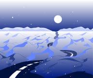 Χειμερινό υπόβαθρο με το δρόμο και τη χιονώδη κοιλάδα Το αρκτικό τοπίο με τα βουνά στον ορίζοντα με το όμορφο μπλε διανυσματική απεικόνιση