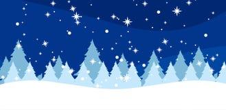 Χειμερινό υπόβαθρο με fir-trees και snowflakes ελεύθερη απεικόνιση δικαιώματος