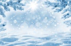 Χειμερινό υπόβαθρο με snowdrifts για τη ευχετήρια κάρτα Στοκ Φωτογραφία