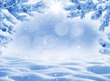 Χειμερινό υπόβαθρο με snowdrifts για τη ευχετήρια κάρτα Στοκ Φωτογραφίες