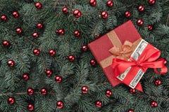 Χειμερινό υπόβαθρο των κλάδων έλατου Εξωραϊσμένος με τα κόκκινα μπιχλιμπίδια και τα χρήματα δώρων ουρανός santa του Klaus παγετού στοκ φωτογραφίες