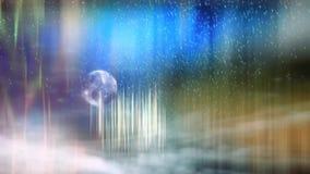 Χειμερινό υπόβαθρο φαντασίας με το λαθραίο ποτό, το χιόνι και τον ουρανό παραμυθιού ελεύθερη απεικόνιση δικαιώματος