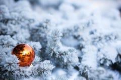 Χειμερινό υπόβαθρο Χριστουγέννων με τη σφαίρα Στοκ Εικόνες