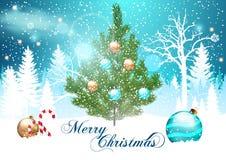 Χειμερινό υπόβαθρο Χριστουγέννων με το χριστουγεννιάτικο δέντρο απεικόνιση αποθεμάτων