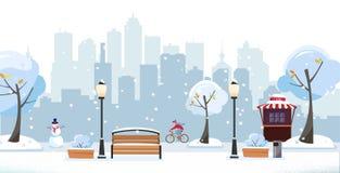Χειμερινό χιονώδες πάρκο Δημόσιο πάρκο στην πόλη με τον καφέ οδών ενάντια στη σκιαγραφία πολυκατοικιών Τοπίο με τον ποδηλάτη, διανυσματική απεικόνιση
