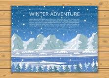 Χειμερινό χιονώδες τοπίο με τα βουνά απεικόνιση αποθεμάτων