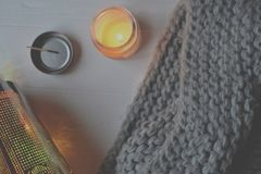 Χειμερινό ύφος backgound Τα αντικείμενα για την εγχώρια διακόσμηση Στοκ φωτογραφίες με δικαίωμα ελεύθερης χρήσης