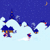 Χειμερινό bullfinch χωριό Στοκ εικόνα με δικαίωμα ελεύθερης χρήσης