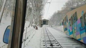 Χειμερινό funicular, Κίεβο, Ουκρανία απόθεμα βίντεο