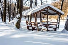χειμερινό gazebo στα ξύλα Στοκ Εικόνες