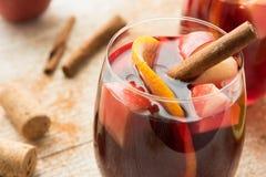 Χειμερινό sangria με τα εσπεριδοειδή, τα μήλα και την κανέλα στοκ φωτογραφία