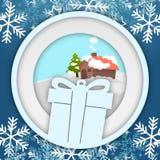 Χειμερινό Snowflake διανυσματική εικόνα Photoframe κύκλων Giftbox Στοκ Εικόνες