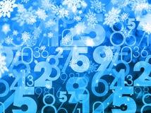 Χειμερινών Χριστουγέννων μπλε υπόβαθρο αριθμών πώλησης τυχαίο Στοκ Εικόνες