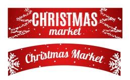 Χειμώνας αγοράς Χριστουγέννων που κρεμά το μακρύ έμβλημα Στοκ Εικόνα