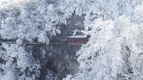 Χειμώνας, βουνό Tianmen σε Zhangjiajie, Hunan, στοκ εικόνες