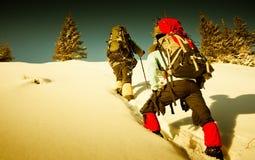 χειμώνας βουνών οδοιπόρω&nu Στοκ Εικόνες