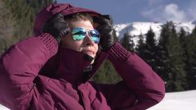 χειμώνας βουνών gudauri Καύκασου Γεωργία απόθεμα βίντεο