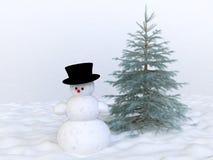 χειμώνας δέντρων χιονανθρώ&pi απεικόνιση αποθεμάτων
