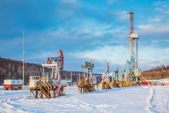 Χειμώνας εγκαταστάσεων γεώτρησης διατρήσεων εδάφους Στοκ εικόνα με δικαίωμα ελεύθερης χρήσης