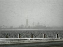Χειμώνας, η Αγία Πετρούπολη, χιονοθύελλα Στοκ Εικόνα