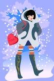 χειμώνας κοριτσιών διανυσματική απεικόνιση