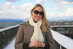 χειμώνας λιμνών κοριτσιών tahoe Στοκ Εικόνες