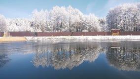 χειμώνας λιμνών πάγου αλιείας απόθεμα βίντεο