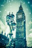 Χειμώνας Λονδίνο Big Ben και χιόνι στοκ φωτογραφία