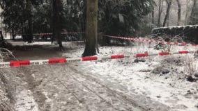 Χειμώνας με πολύ οδόφραγμα τμημάτων snowfallFire μπροστά από μια σκηνή εγκλήματος στο δάσος φιλμ μικρού μήκους