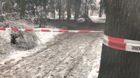 Χειμώνας με πολύ οδόφραγμα τμημάτων snowfallFire μπροστά από μια σκηνή εγκλήματος στο δάσος απόθεμα βίντεο