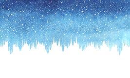 Χειμώνας, μπλε σύνορα watercolor Χριστουγέννων, χιόνι και παγάκια διανυσματική απεικόνιση
