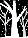 Χειμώνας νύχτας ΔΕΝΤΡΩΝ ΧΙΟΝΙΟΥ εικόνας ελεύθερη απεικόνιση δικαιώματος