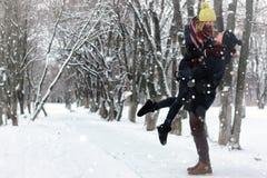 Χειμώνας οδών ζεύγους Στοκ Εικόνες