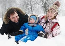 χειμώνας οικογενειακ&omic Στοκ Εικόνα