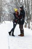 Χειμώνας οδών ζεύγους Στοκ Φωτογραφία
