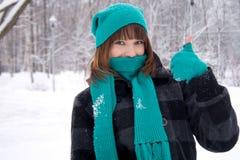 χειμώνας πάρκων κοριτσιών Στοκ Εικόνες
