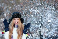 χειμώνας πάρκων κοριτσιών Στοκ φωτογραφίες με δικαίωμα ελεύθερης χρήσης
